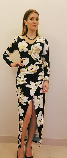 118Printed long bodycon evening dress.