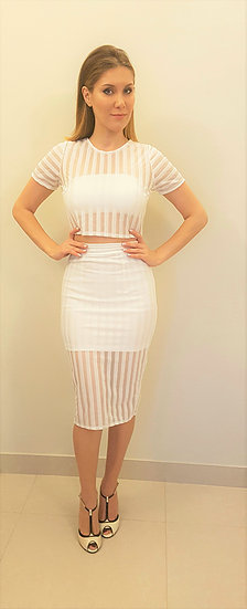 86Three piece dress with self embellished stripes..