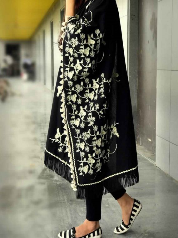 Pure Khadi Black Color Floral Embroidered Dupatta