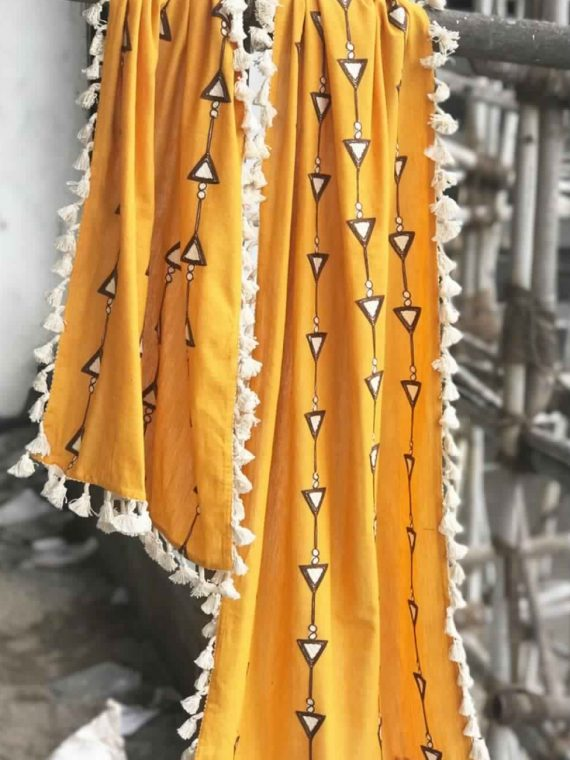 Pure Khadi Mustured Dupatta with Off White Tassel Lace-1200×1500