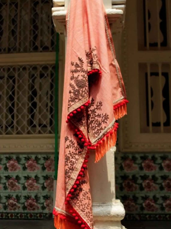 Pure Khadi Peach Color Embroidered Dupatta