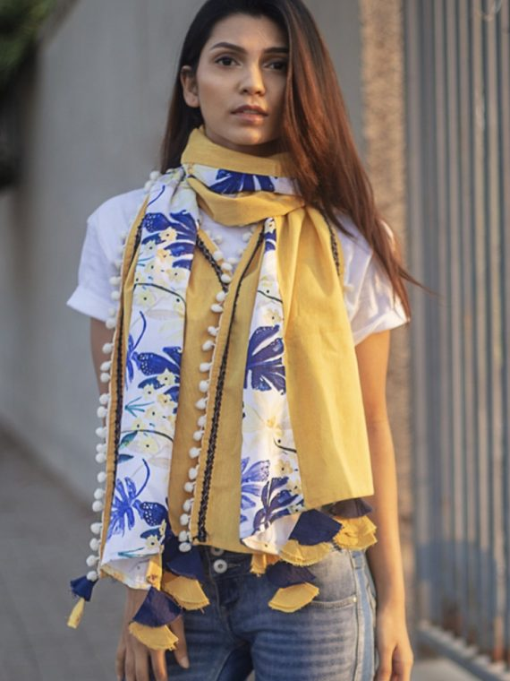 Tropical Print Yellow Khadi Dupatta or stole-Mesmora Fashion-1200×1500