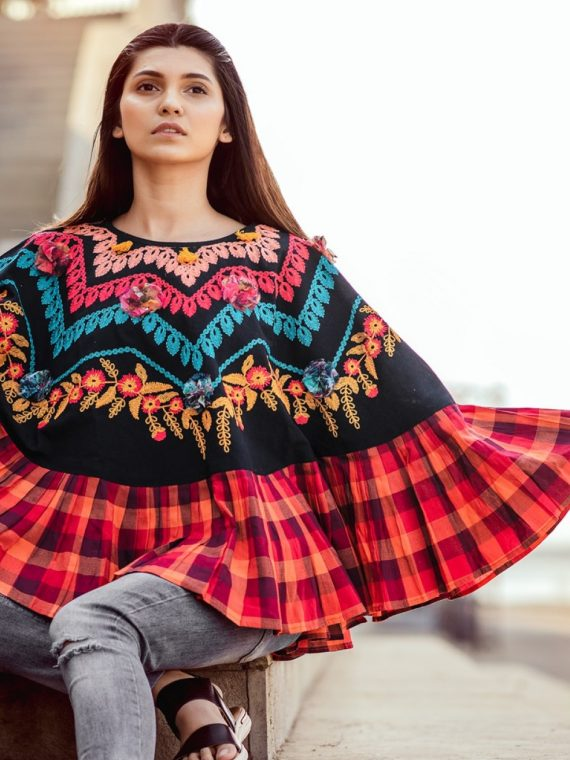 Colorful Embroidered Circular Capes For Winters with 3D flowers 1 2-1200×1500