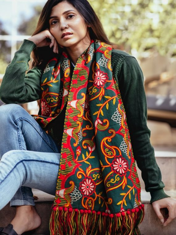 Deep green Woollen Heavily Embroidered Khadi Muffler or Stole-1200×1500
