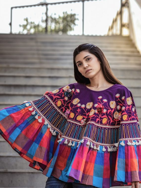 Multi Checks Frill Purple Embroidered Poncho with 3D Flowers-1200×1500