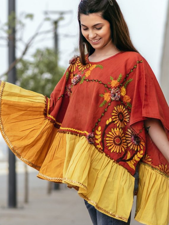 Rust Sunflower Embroidery Assymetric poncho-1200×1500